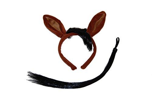 GIZZY - Set per adulti e bambini, con orecchie di cavallo e coda