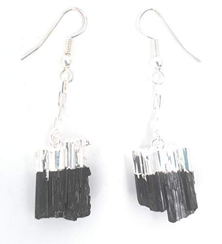 Pendientes de Turmalina Negra en Bruto Baño de Plata Brasil Piedra Natural 100% Belleza Energética Meditacion Amuletos Espirituales