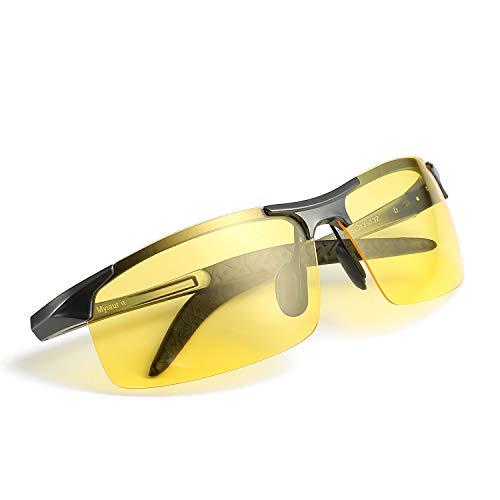 Myiaur Gafas polarizadas HD de la visión nocturna de Deportivas Style para conducir las gafas de sol antideslumbrantes de la lente amarilla 100% UVA UVB protection (metalgun, amarillo)