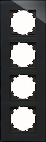 Kopp 406605001 HK07-Marco embellecedor para 4 interruptores (Cristal), Color Blanco