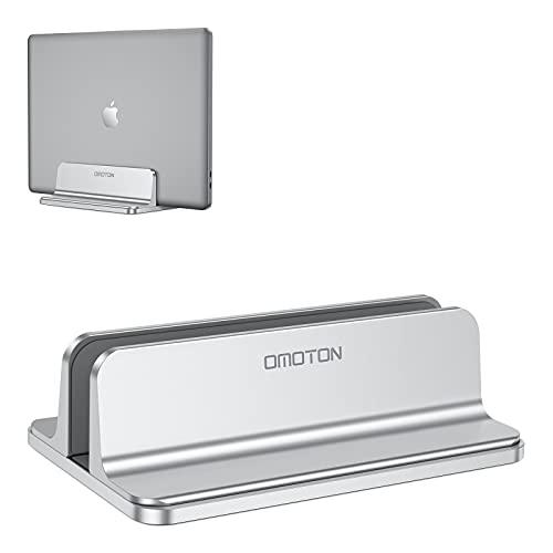 OMOTON Verstellbarer vertikalen Laptop Ständer, Aluminium Platzsparender Ständer für alle Handys & Notebooks - Ideal für MacBook, MacBook Air, MacBook Pro, Ultrabook, Lenovo & andere, Silber