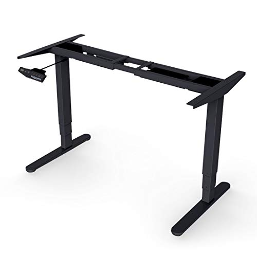 FlexiSpot E5B Height Adjustable Electric Standing Desk Frame Only Three-Stage Heavy Duty Steel Stand Up Desk with Automatic Memory Smart Keyboard(Black)