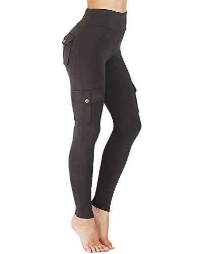 Nuofengkudu Donna Militare Stile Vita Alta Push up Leggings con Tasche Palestra Jogging Yoga Workout Fitness Escursionismo Sportivi Pantaloni Esercito(N-Grigio,S)