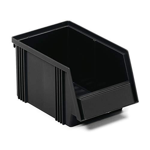 Treston 1525-4ESD Sichtlagerkästen stapelbar für Industrie Lagersystem, 30 Stück schwarz 149 x 250 x 130 mm