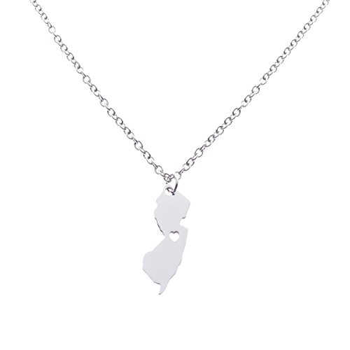 Yiyang New Jersey State Necklace Pendant Country Map NJ Pendant Charm Jewelry Gift for Women Teens