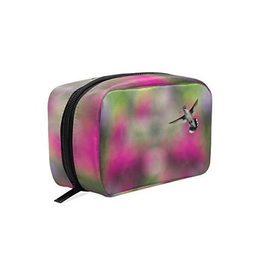 AJINGA Bolsa de cosméticos con diseño de flores de colibrio con cremallera, bolsa de viaje cuadrada para mujer