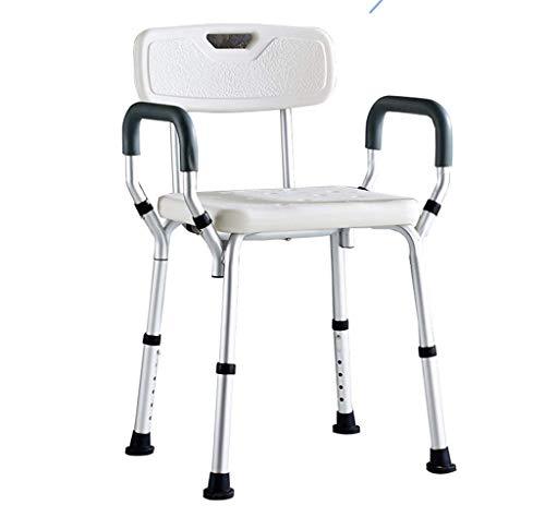 XUSHEN-HU Silla de ducha de seguridad para baño, asiento de baño con reposabrazos acolchados y respaldo ajustable para bañera, banco de ducha, taburete de baño, baño