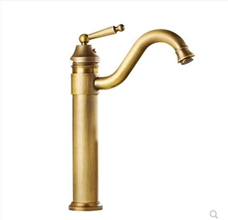 Oudan Drawing Single Handle, Single Hole Basin Faucet, All Copper Antique, European Style Cold and Hot Faucet, Single Hole, Basin Top, Basin Faucet, Ancient Faucet,B (color   A, Size   -)