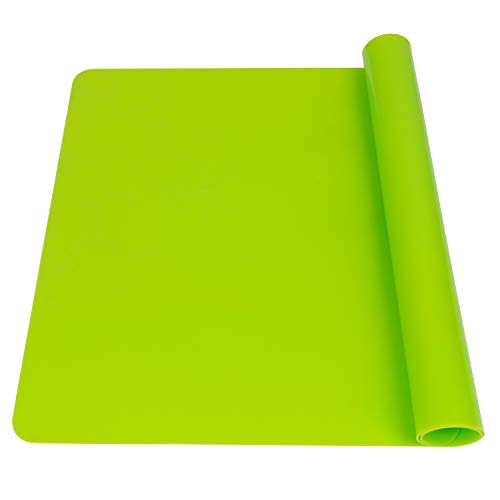 Extra Large Silicone Table Mat, Silicone Mat for Crafts Kids Dinner Placemat Desk Countertop Waterproof Protector Heat Insulation Kitchen Pastry Rolling Dough Pad Tool, Green (23.62x15.75 inches)
