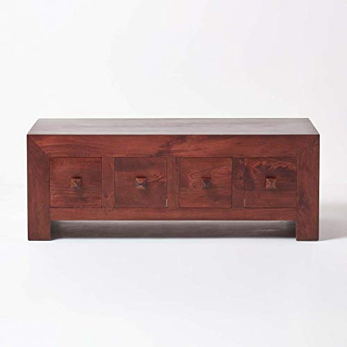 HOMESCAPES Dakota Media Unit Trunk Coffee Table with 8 Drawers Dark Wood 100% Solid Mango Hard Wood (No Veneer) Hand Crafted Furniture W 115cm x D 55cm x H 42cm