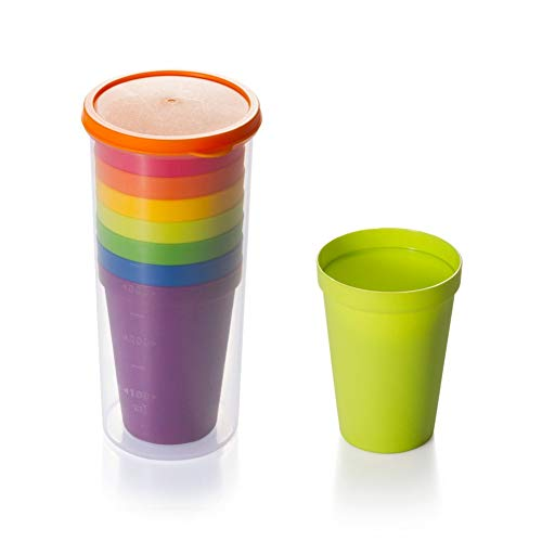 ANZRY Tasse en Plastique Voyage Portable Coupe Arc-en-Ciel coloré Tasse en Plastique Tasse de Pique-Nique en Plein air 8 Pack