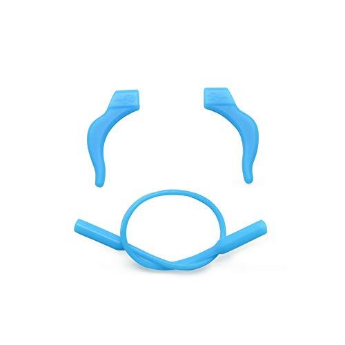 EnzoDate 3 Juegos Paquete Niños Gafas Silicona Cord & Stay Puts, Lentes para los niños Cerraduras de oído con banda de retención de banda de la cabeza (azul)