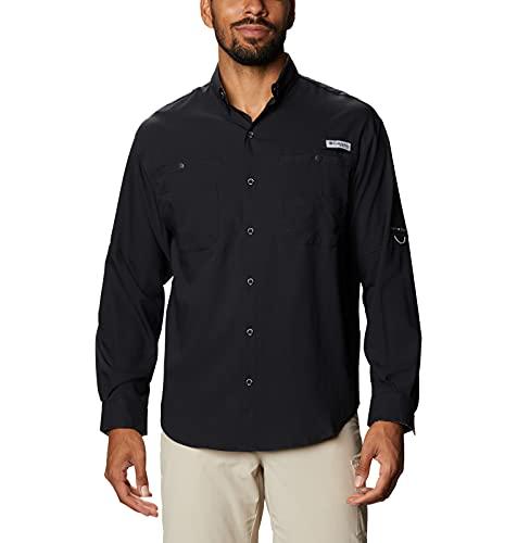 Columbia Tamiami II Camisa de Manga Larga para Hombre, Hombre, Tamiami II Camisa de Manga Larga, 128606, Negro/Realtree Edge, 2X (Alto)