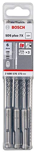 Bosch Professional 10 tlg. Hammerbohrer SDS Plus-7X (für Beton und Mauerwerk, 6 x 100 x 165 mm, Zubehör Bohrhammer)
