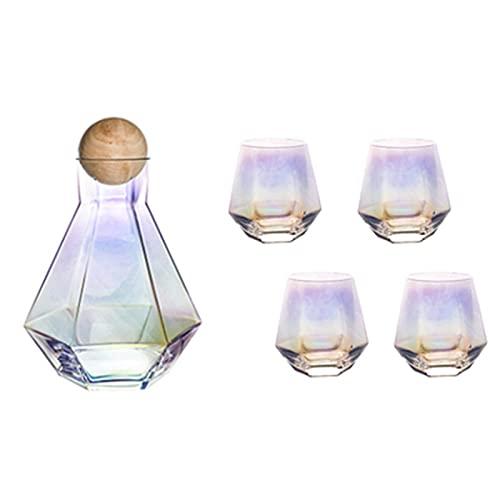 lefeindgdi Juego de pote de cristal hexagonal, botella de agua blanca fría resistente al calor, botella de agua fría para decoración del hogar