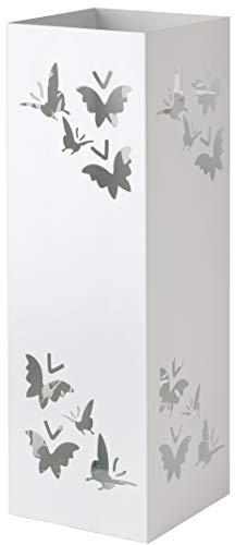 Baroni Home Portaombrelli Quadrato in Metallo con Intagli a Forma di Farfalle Bianco 15.5X15.5X49 cm con Gancino e Vaschetta Scolapioggia Rimovibile