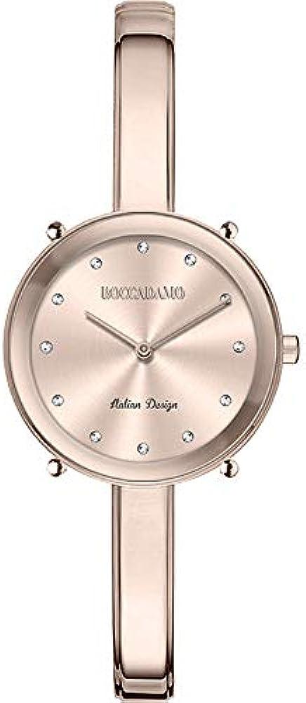 Boccadamo, orologio per donna,cinturino in metallo semirigido placcato oro rosa, indici:in cristallo swarovski LO005