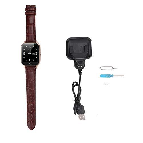 KUIDAMOS Reloj Mayor GPS 650mAh del teléfono Inteligente del Reloj de la ubicación, para el Monitor del sueño, para los Ancianos(Brown)