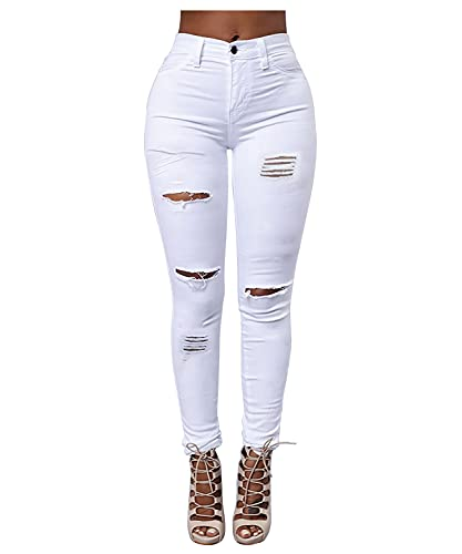 Women's High Waisted Butt Lift Stretch Ripped Skinny Jeans Distressed Denim Pants US 10 White 15