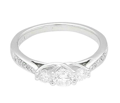 Anillo de tres piedras de diamante 950 Platinum de 0,50 quilates con detalles (tamaño L 1/2) 4 mm de ancho