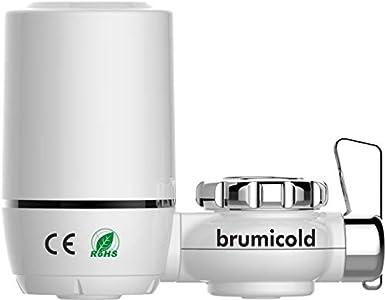 brumicold Filtro purificador Agua Grifo Cocina cerámico con carbón de Coco, Elimina Cloro, Fluor, oxido, Metales Pesados, nitratos, Agua purificada al Instante