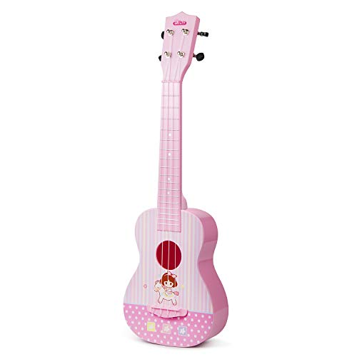 ASTOTSELL Kids Guitar Musical Toy Ukulele Instrument, Kids Toy Guitar 4 String Rhyme Developmental Musical Instrument Educational Toy for Toddlers Boys and Girls (Pink)
