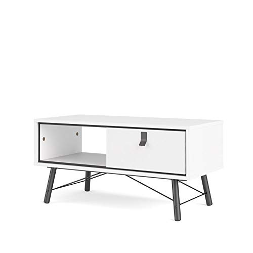 Tvilum 1 Drawer Coffee Table, White Matte/Black