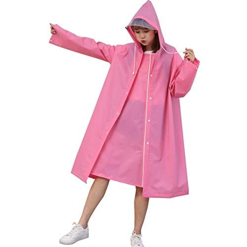 CWfeng Impermeable impermeable y resistente al viento con capucha Parker ligero a la moda plegable largo impermeable (tamaño mediano)