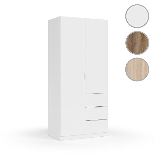 Habitdesign LCX352O Armario ropero Dos Puertas y Tres cajones, Acabado Color Blanco,...