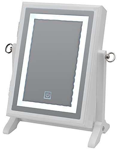 Soporte para joyas con espejo y luz LED, muchos compartimentos y colgadores, blanco, orientable, 65 x 230 x 265 mm