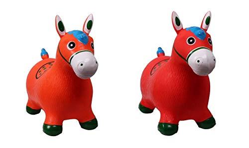netproshop Kleinkind Spielzeug Hopser Hüpfpferd aus Gummi Pferd oder Einhorn Auswahl, Farbe:Orange
