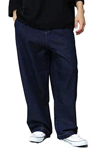 バレッタ ワイドパンツ デニム メンズ デニムワイドパンツ パンツ シェフパンツ ジーンズ メンズ ジーパン ビッグシルエット ビッグサイズ ネイビー Mサイズ