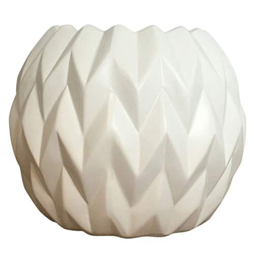 DOITOOL, 1 vaso bianco in ceramica per piante da appartamento, per ufficio, casa, giardino, 19,5 x 19,5 x 17,5 cm