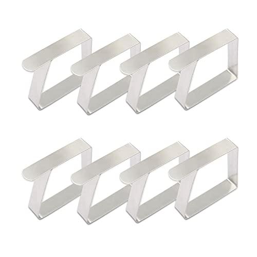 SIKAMARU 8 pinzas de acero inoxidable para mantel, pinzas para mantel, pinzas para mesa, clips para mesa, soporte para mantel, pinzas pequeñas, para mesas gruesas de jardín, plateadas, 5 x 4 cm