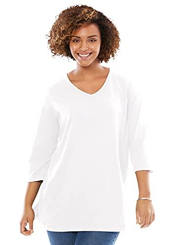Woman Within Women's Plus Size Perfect Three-Quarter Sleeve V-Neck Tunic - 4X, White