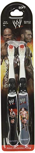 WWE John Cena, cm Punk, and Daniel Bryan Toothbrushes - Assorted Styles and Colors, Wrestlers May Vary, 2 Count (Pack of 1)