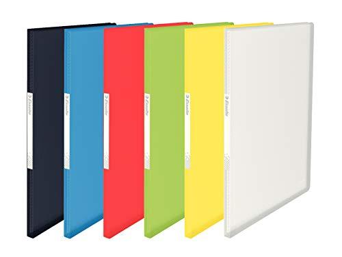 Esselte Carpeta de fundas A4, 20 fundas, Capacidad para 40 hojas, Fundas transparentes, Tapas flexibles, Gama VIVIDA, 623996, Colores surtidos, 1 unidad