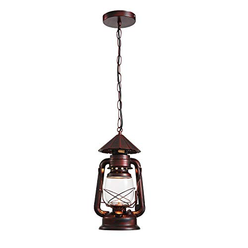 NOXARTE Rustic Lantern Pendant Light with Glass Shade...