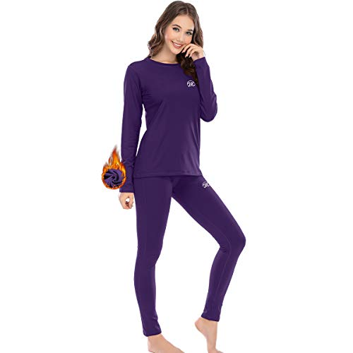 MEETWEE Thermal Underwear for Women, Winter Base Layer Top & Bottom Set Long Johns with Fleece Lined