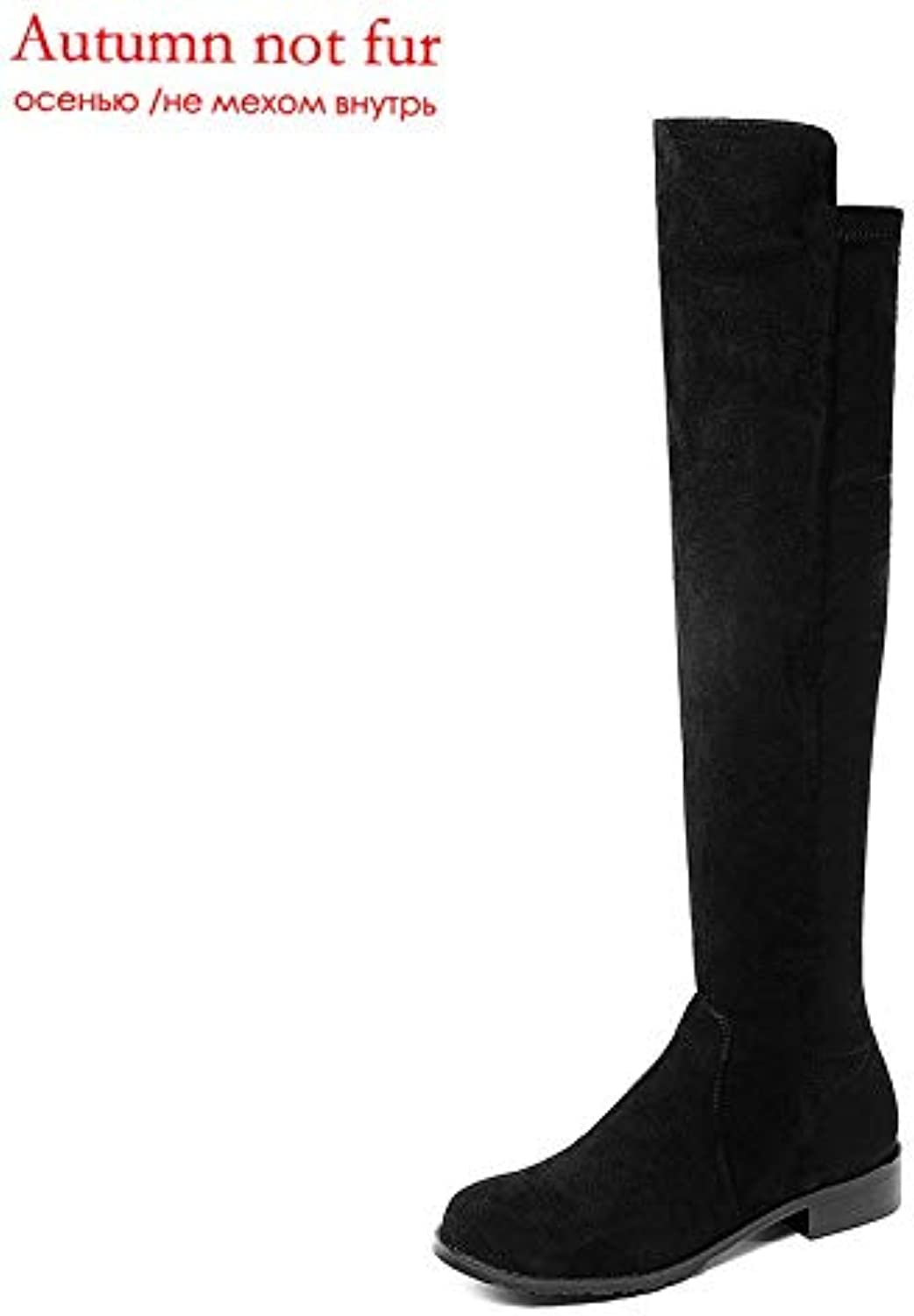 Fumak Size 33-43 Fashion Autumn Winter Boots Women Round Toe Over The Knee Boots Low Heel Stretch Fabric+Cow Leather Boots