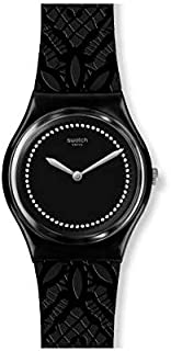 Swatch GB320 Silicone Patterned Band Stone Embellished Dial Round Analog Watch for Women - Black