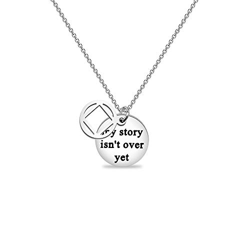 NA Necklace My Story isn't Over Yet Necklace Sobriety Gift Recovery NA Narcotics Anonymous Birthday Gift NA Necklace (NA Necklace)