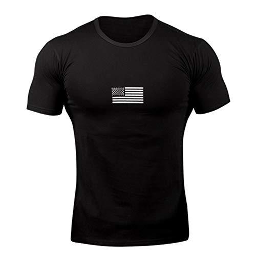 EUZeo Herren Casual Kurzarm T-Shirts Slim Fit Rundausschnitt Fahnendruck Kurzarmshirts Basic Shirts Hemden Fitnessshirt Sportshirt Laufshirt Kompressionshirts Sportlich Oberteil