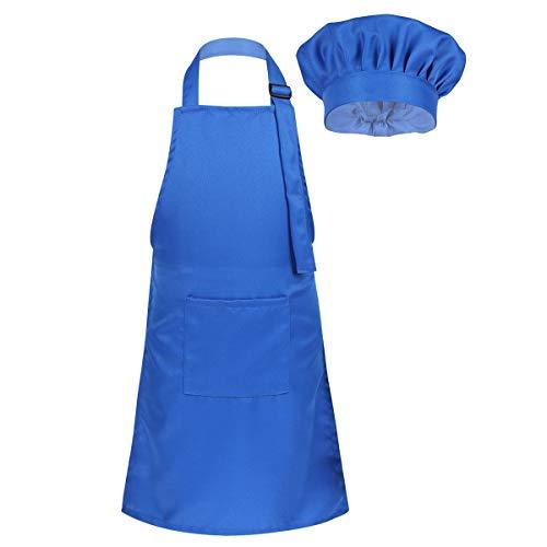 inlzdz Déguisement Cuisinier Enfant Costume de Chef Cuisine Costume Cosplay Tablier Pâtissier & Toque de Chef Fête Cadeau d anniversaire pour Garçon Fille Unisexe Bleu S