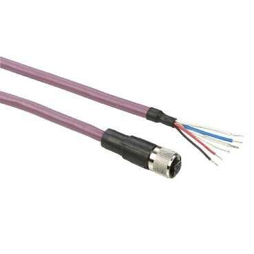 Schneider TCSMCN1F5 XG RFID Geschirmte Modbus Kabel, M12 Stecker, Ende mit freien Drähten, IP67, 5 m