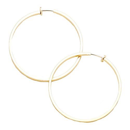 Schmuckanthony Hoernel - Pendientes de aro con clip (chapados en oro, hipoalergénicos, 8 cm)