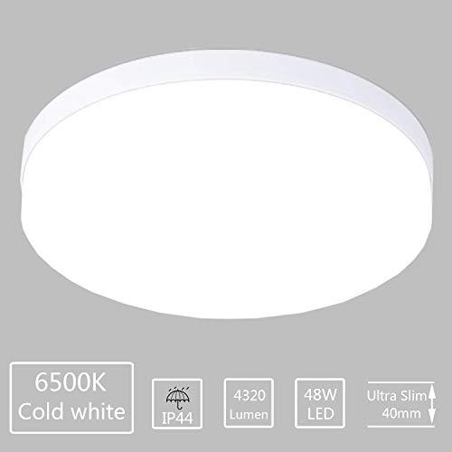 LED Deckenleuchte Bad 6500K Kaltweiss Ketom 48W ersetzt 150W Glühbirne, Rund IP44 4320LM Deckenlampe Ideal für Badezimmer Balkon Flur Küche Wohnzimmer Wasserfest Badlampe