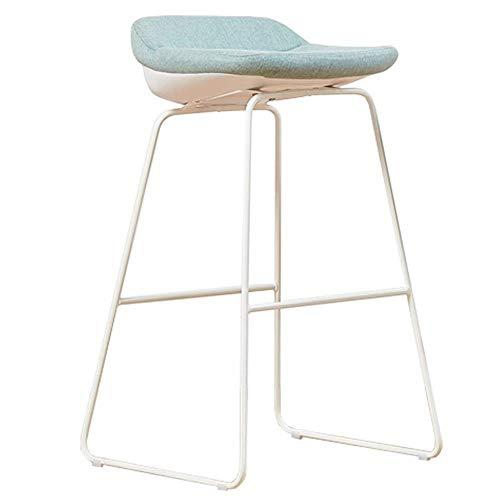Bar stoolsQX IAIZI moderne barkruk, metalen poten, linnen en milieuvriendelijke plastic zitting, blauw en wit, Great Deal Meubel