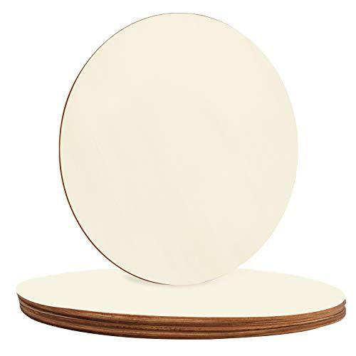 BELLE VOUS Runde Holzplatte Holzscheiben (8er Pack) - Holzscheiben 30 cm Durchmesser mit 3 mm Dickes Deko Holz - Einfarbige Natürliche Holzscheiben zum Basteln Ausschnitte, Heim Deko und Ornamente