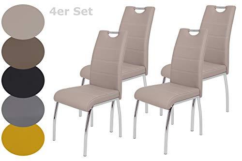 4er Set Esszimmerstuhl Susi, Bezug Kunstleder Cappuccino, Griffmulde, Metallgestell Chrom, 43 x 61 x 98 cm